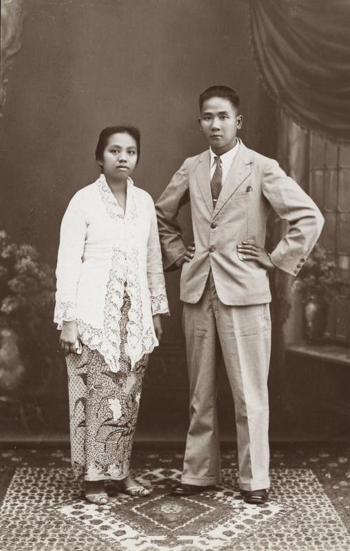 "Couple in Western-style suit and ""kebaya  encim""  Jogjakarta, 1930  KITLV 50437"